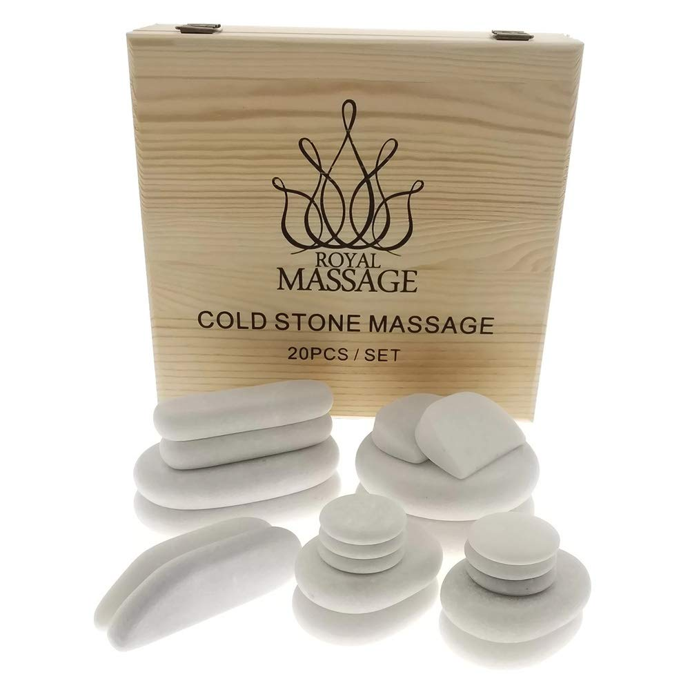 Royal Massage  20pc Massage Marble Cold Stone Therapy Set with Bamboo Case by Royal Massage (Image #1)