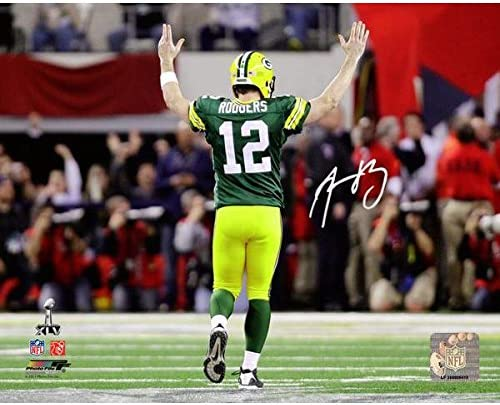 NFL Green Bay Packers Aaron Rodgers Signed Super Bowl x lv Td Celebration 16 x 20 Photo