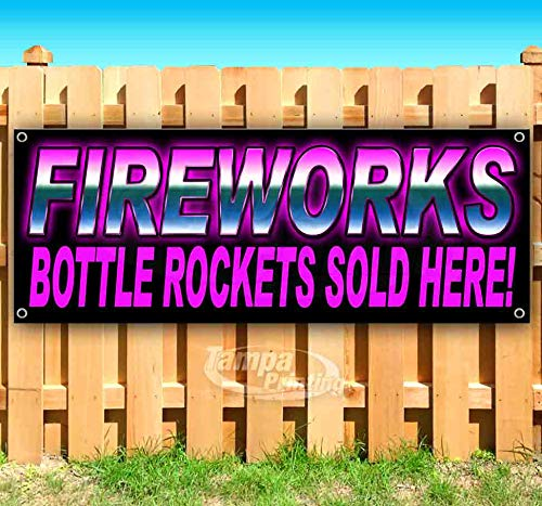 Fireworks Bottle Rockets PR 13 oz Heavy Duty Vinyl Banner Sign with Metal Grommets, New, Store, Advertising, Flag, (Many Sizes Available)