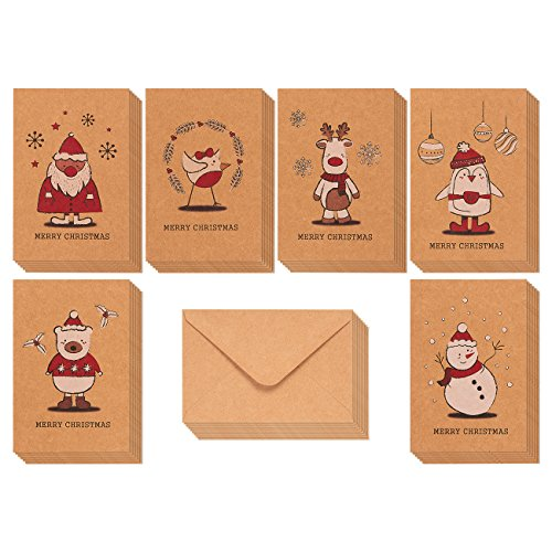 36-Pack Merry Christmas Greeting Cards Bulk Box Set - Winter Holiday Xmas Kraft Greeting Cards with Yuletide Character Illustrations, Envelopes Included, 4 x 6 Inches Christmas Card Kids