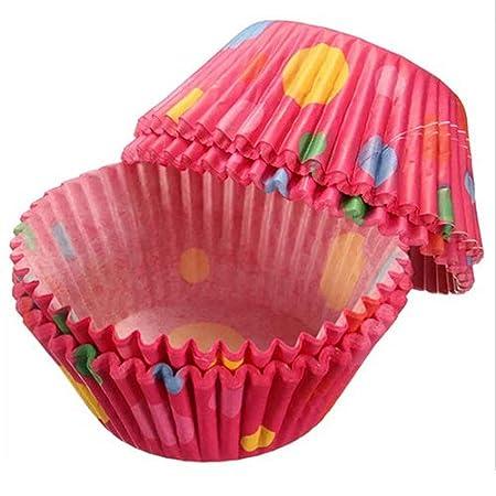 Shyymaoyi - Moldes de papel desechables para magdalenas y pasteles, 100 unidades multicolor: Amazon.es: Hogar