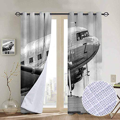 (NUOMANAN Customized Curtains Vintage Airplane Decor,Old Airliner Cockpit Antique Engine Propellers Wings Nostalgia Image,Grey Black,Blackout Thermal Insulated,Grommet Curtain Panel 1 Pair52 x72)