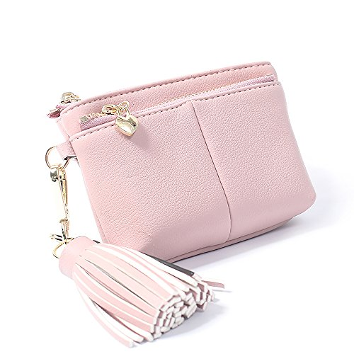 Zipped Coin Pocket (Womens RFID Blocking Slim Key Holder Wallet Card Holder Coin Cash Key Organizer with Ring Tassel (#2 Pink))