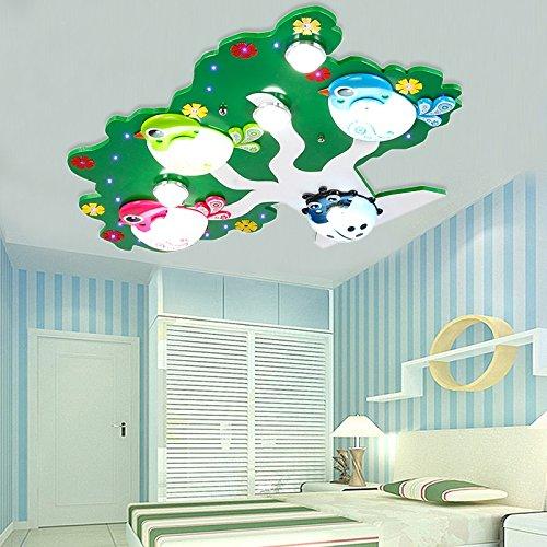 LED children 's room ceiling lamp bird cartoon bedroom lights boys and girls room lights eye Kindergarten lights lu201957py ( Size : Green )