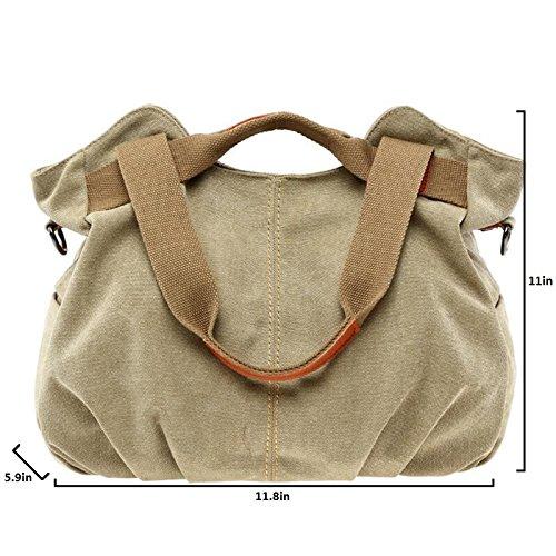 Purse Women's Casual Shoulder Canvas Khaki Top Handle satchel Tote Vintage Hobo Shopper raUqaI