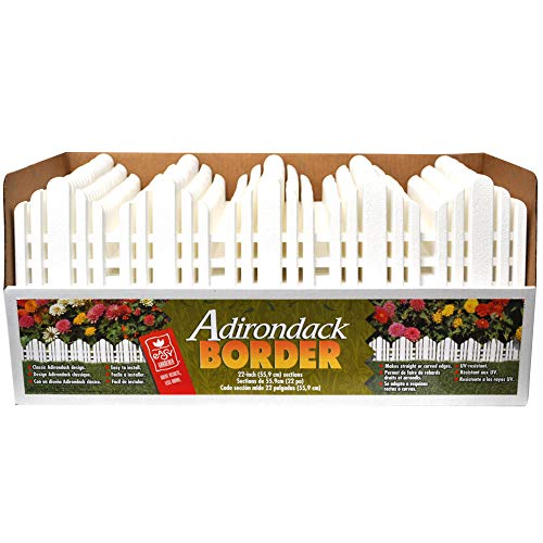 Decorative Landscape Edging Adirondack Border (No Dig Edging) White 22 Inch x 6 Inch Sections, 18 Sections Pack (33 Feet) (Best Shrubs For Borders)