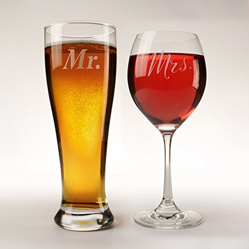 His 12oz pilsner glass and Her's 10oz wine glass for bridal showers, engagements, anniversaries, weddings, newlyweds and - Glasses Her