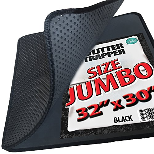 Jumbo Size Cat Litter Trapper by iPrimio - Litter Mat, EZ Clean Cat Mat, Litter Box Mat Water Proof Layer and Puppy Pad Option. Patent Pending. (32x30Jumbo)