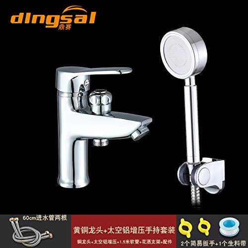 Ling Kitchen Sink Faucets Basin Mixer Faucet Tap Bathroom Faucet Tap All Copper Single Hole Shower Hot & Cold Water Double Swivel Aluminum Hand Spray Kit Spout Water Pull Out