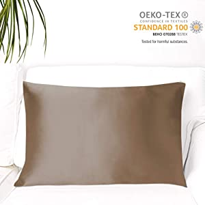 MYK Silk Pure Natural Mulberry Silk Pillowcase, 19 Momme with Both Sides Silk for Hair & Skin, Oeko-TEX, 600 TC, Curly Essential, Zipper Clousure, Queen, Caramel