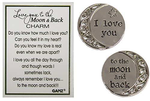 Love You to The Moon and Back 1 Inch Pocket Charm with Story Card (The Sun And The Moon Love Story)