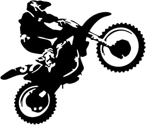 JUEKUI Motocross Vinyl Wall Decal Motorcycle Autobike Wall Art Home Decals for Living Room Bedroom Decoration Dirt Bike Sport Poster WS60 (Black, 57x43cm)