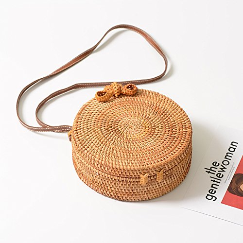 Straw Crossbody Bag, Vintage Handwoven Round Ata Rattan Shoulder Bag Straw Purse with Bow Clasp by KNUS (Image #2)