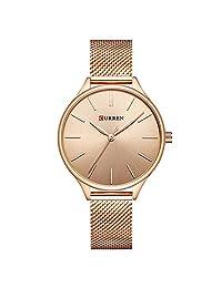 Curren Ultra Thin Dial Watch Analog Display Quartz Women Watch with Mesh Steel Band Waterproof Wristwatch 9024 (Rose)