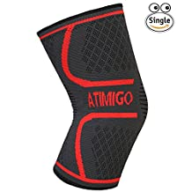 Knee Support Compression Sleeve Knee Brace Support for Running, Jogging, Sports, Joint Pain Relief, Arthritis,Injury Recovery,Acl and Meniscus -the Best Knee Pads Support for Women ,Men and Kids by Atimigo