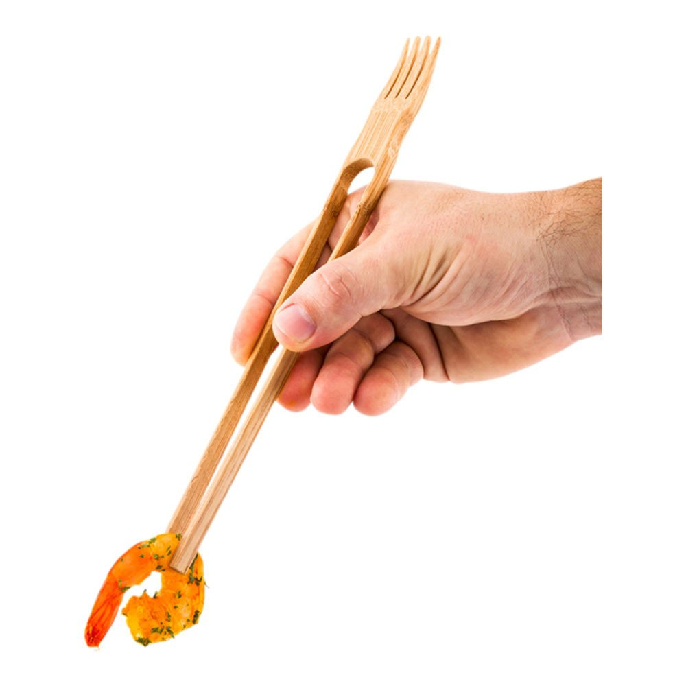 Bamboo Chop Fork Dual Utensil - Chopsticks and Fork in One - 10'' - 100ct Box - Restaurantware