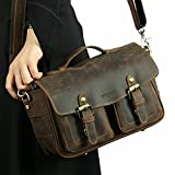 Homodo DSLR camera Bag for Lens Partition Handcrafted Vintage Genuine Leather Handbag Shoulder Satchel Briefcase Travel Crossbody Bag