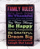 Family Rules Signs Antique Art Metal Painting Vintage Tin Sign Mural Wall Cafe Bar Pub Garage Decor