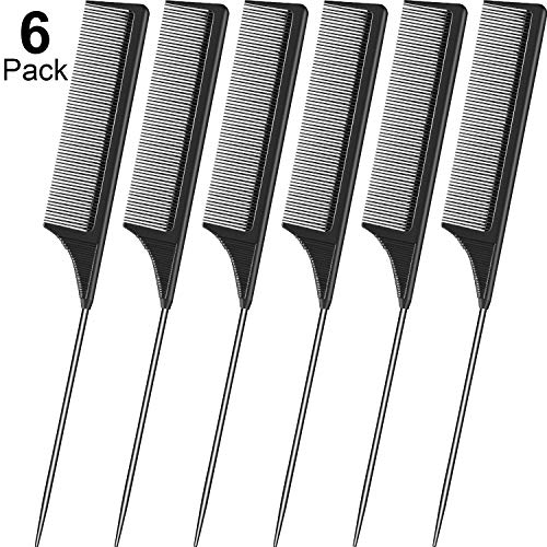 6 Pieces Tail Comb Black Carbon Fiber Hair Comb and Stainless Steel Pintail Heat Resistant Teasing Comb for Women Girls Hair Styling
