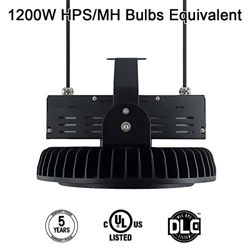 300W UFO LED High Bay Light, Hi-Bay Lighting 39,000 Lumens (1200W HID/HPS equivalent) Lumileds SMD 3030 LED 130Lm/W Meanwell Driver with Mount Bracket, 5000K, DLC&UL Listed Waterproof,Adiding