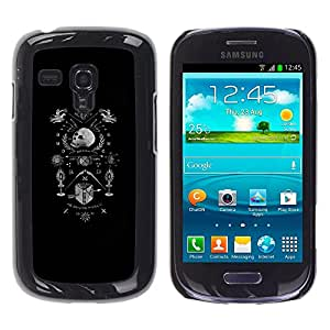 Shell-Star Arte & diseño plástico duro Fundas Cover Cubre Hard Case Cover para Samsung Galaxy S3 III MINI (NOT REGULAR!) / I8190 / I8190N ( Skull Black Coat Of Arms White Death )
