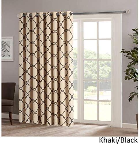 1 pieza Color Caqui Color geométrico cortina de puerta corredera ...