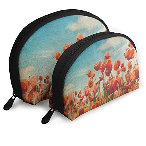 Makeup Bag Watercolor Poppy Portable Shell Cosmetic Bags Organizer For Women