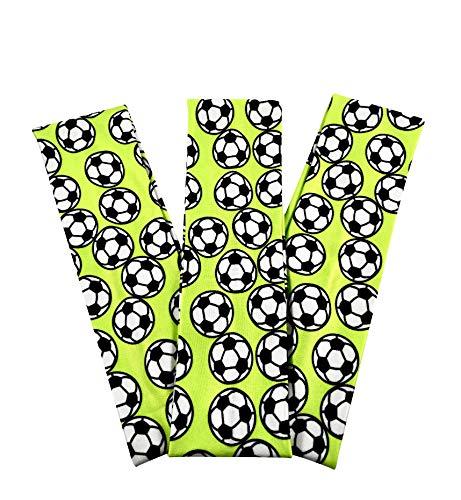 (Soccer Stretch Headbands - (3 Pack) for Women, Teens, Kids - 2.25