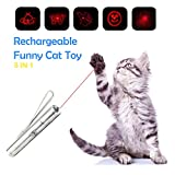 MeihuaTu Cat Toy Interactive Cat Chaser 5 in 1 Multi Pattern Funny Toys Stick LED Light Pointer Pet Training Tools,USB Rechargeable Kitten Toy for Catch Teasing