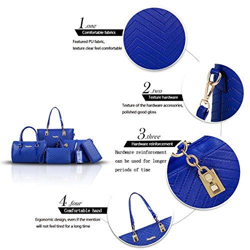 6 Moda Azul Mujer Bolsos Grande Tisdaini Piezas De Bandolera Totes Mano IHXAZxP