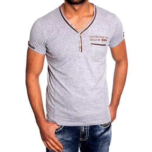 T-Shirt Poloshirt für Herren Männer Jungs Jungen A16625RN, Größe:XXL, Farbe:Grau