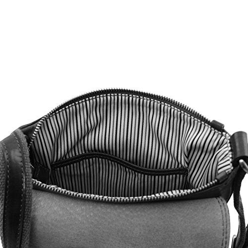 Tuscany Leather - John - Sac en cuir pour homme avec zip frontal - Marron foncé