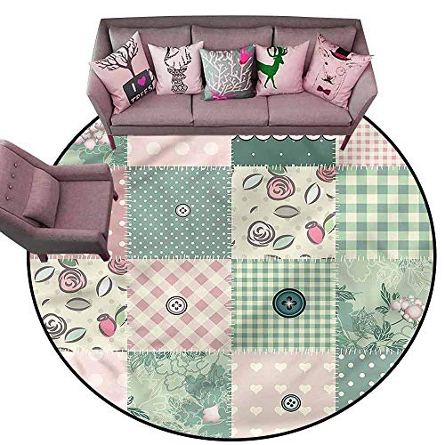 Patchwork Mat Pastel - Outdoor Kitchen Room Floor Mat Vintage,Shabby Pastel Patchwork Diameter 54