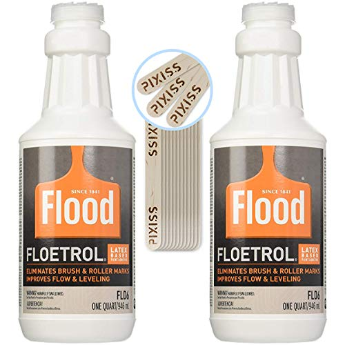2X 1-Quart Flood Floetrol Additive and 20x 6-inch Pixiss Wood Mixing Sticks Pouring Bundle ()
