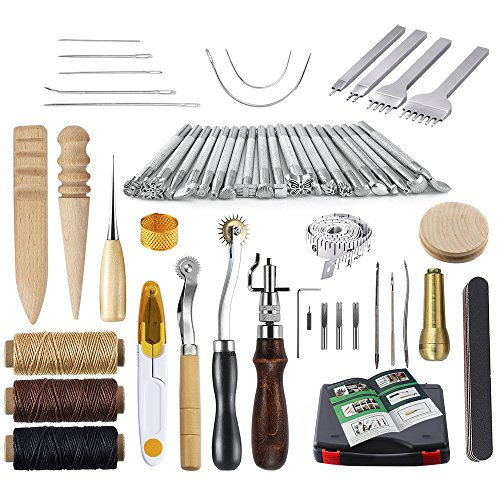 Caydo 59 Pieces Leather Craft Hand Tools Kit for Hand Sewing Stitching, Stamping Set and Saddle Making
