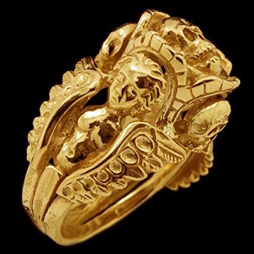 Amazon.com: 14K Solid Gold Skull Ring Custom Masonic Mens Biker Jewelry Sz12: Handmade