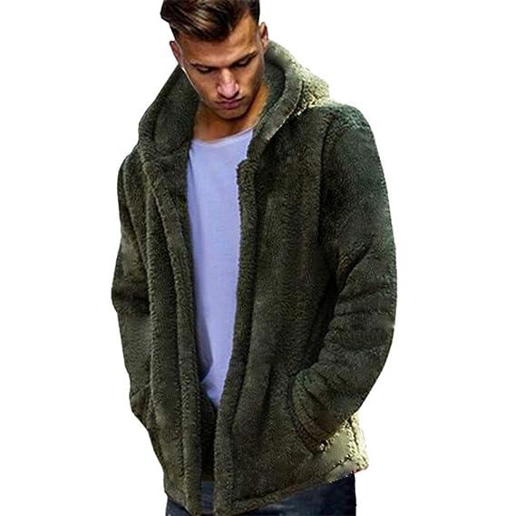 MAYOGO Herren Oversize Mantel Coat mit Kapuze Männer Doppelseitige Plüsch Hoodie Tops Outcoat Trenchcoat,Kapuzen Flaummantel Solid Color Winterparka