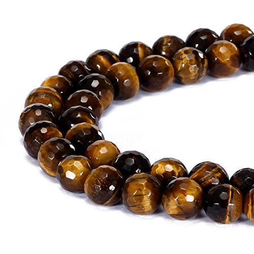 - BRCbeads Gorgeous Natural Yellow Tiger Eye Gemstone Faceted Round Loose Beads 10mm Approxi 15.5 inch 35pcs 1 Strand per Bag for Jewelry Making