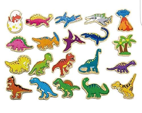 Viga Toys - 50289 - Wooden Magnetic Dinosaurs - 20 Pieces