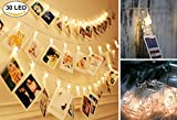 Photo Clips String Lights 30 LED(10ft) Starry Fairy Lights Hanging Photos Pictures Notes Artwork for Wedding Birthday Party Wall DIY Warm White (30LED USB Powered)