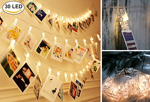 Photo Clips String Lights 30 LED(10ft) Starry Fairy Lights Hanging Photos Pictures Notes Artwork for Wedding Birthday Party Wall DIY Warm White (30LED USB Powered) by Fanng