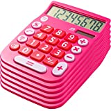 Office + Style 8 Digit Dual Powered Desktop Calculator with Large LCD Display, Pink (Pack of 6)
