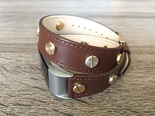 Designer Brown Double Wrapped Eco Friendly Leather Bracelet For Fitbit Charge 2 With Multiple Gold Rivets Handmade Replacement By -