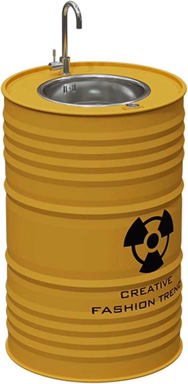 Lavabo Con Pie De Estilo Industrial Creativo Retro, Lavamanos Baño Hierro Forjado De Color, Fregadero De Pedestal Simple Hecho A Mano Con Combinación De Grifo Y De(Color:Fregadero de columna amarilla)