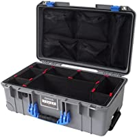 Silver & Blue Pelican Colors series 1535 Air case, with TrekPak Dividers & lid organizer.