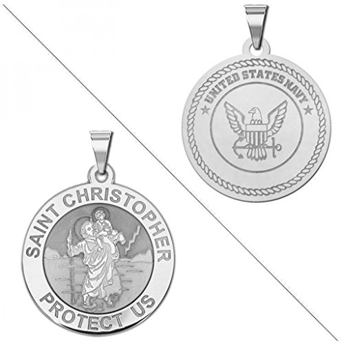 Saint Christopher Doubledside NAVY Religious Medal - 3/4 Inch Size of a Nickel - Sterling Silver - Navy Religious Medal