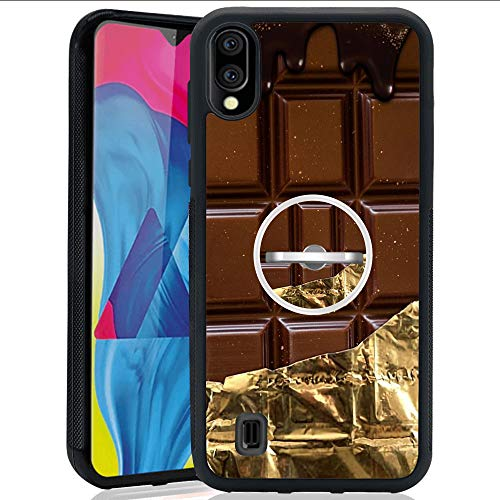 Gold Foil Chocolate Samsung Galaxy M10 Case with Ring Holder Stand Cellphone 360 Degree Rotating Ring Holder Kickstand Drop Protective Cover for Samsung Galaxy M10