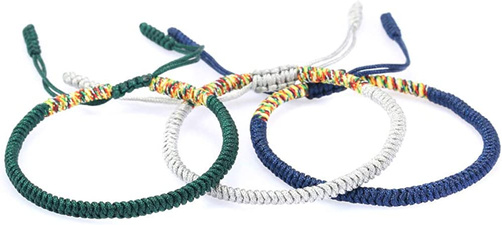 The Belcher's 3pcs/Set Tibetan Buddhist Woven Bracelets Lucky Protection Red String Knot Rope Handmade Friendship Bracelet for Mens Womens Jewelry