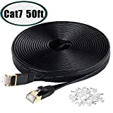 Cat7 Ethernet Cable, 50 FT Xbox/PS4 Network Cable, High Speed Flat Internet Cord with Clips & RJ45 Snagless Connector Fast Computer LAN Wire for Gaming, Ethernet Switch, Modem,Router, Coupler- Black