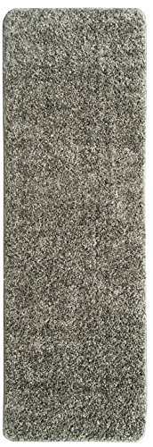 Ottomanson Luxury Collection Solid Runner Rug with (Non-Slip/Rubber-Backing) Bathroom Mat, Grey, 20